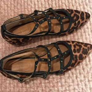 Corso como leopard leather flats straps 8